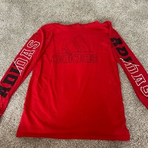 SALE red adidas long sleeve hooded shirt